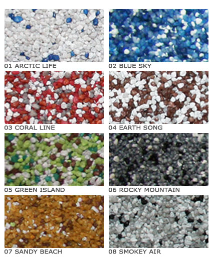 Farben und Struktur einer Bodenbeschichtung