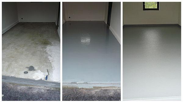 Vorbereitung eines alten Garagenbodens - die neue Beschichtung wird aufgetragen - der neue Garagenboden ist fertig: System: Noppe, Farbe: RAL 7001